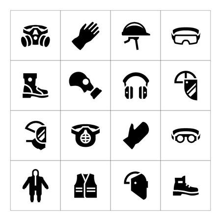 proteccion: Fije los iconos de equipo de protección personal aislados en blanco