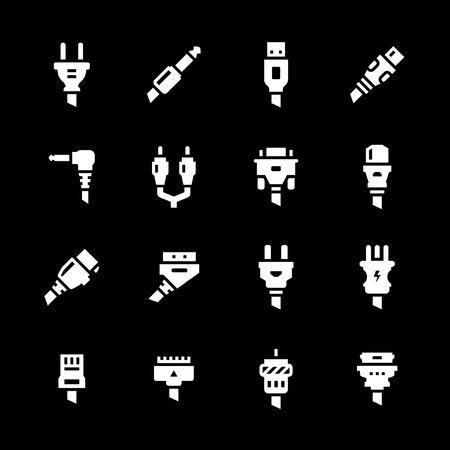 ethernet cable: Set icons of plugs and connectors isolated on black
