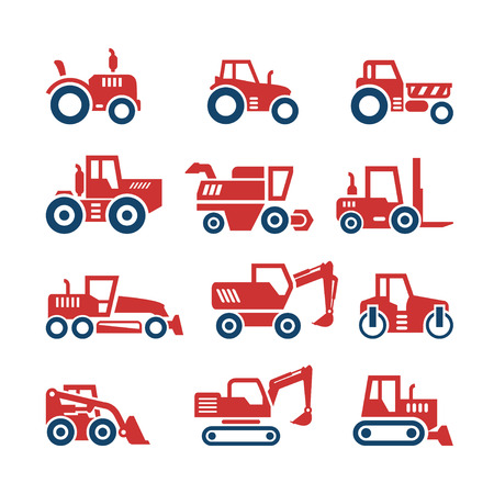backhoe loader: Set color icons of tractors, farm and buildings machines, construction vehicles isolated on white