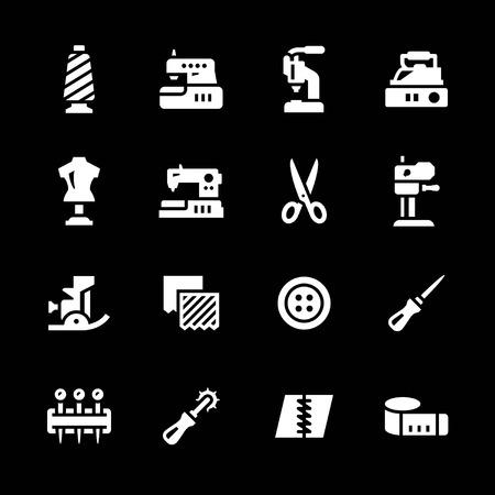 Set iconen van naaien geïsoleerd op zwart Stock Illustratie