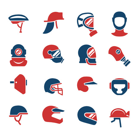 caps: Set color icons of helmets and masks isolated on white