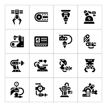 Set icons of robotic industry isolated on white Vettoriali