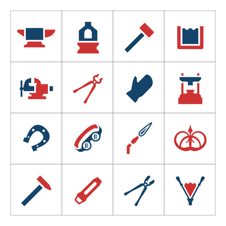 Set color icons of forge isolated on white Illustration