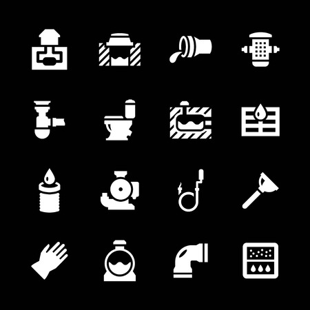sewer pipe: Set icons of sewerage isolated on black Illustration