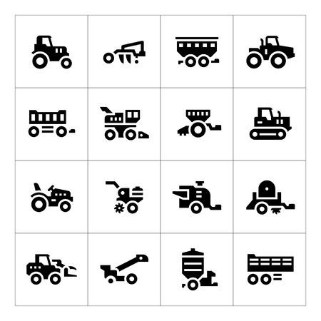 Set iconen van landbouwmachines op wit wordt geïsoleerd