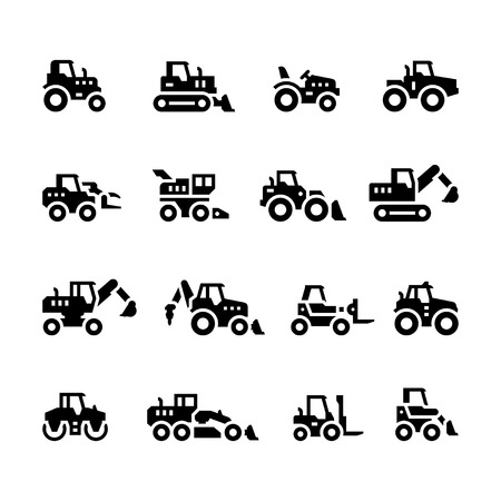 Set icons of tractors, farm and buildings machines, construction vehicles isolated on white Illustration