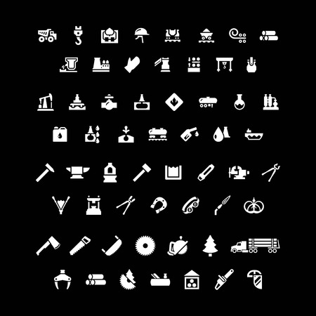 forge: Set icons of industry. Metallurgical, oil, forge and sawmill icons isolated on black