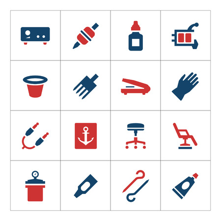 Set color icons of tattoo equipment and accessories isolated on white