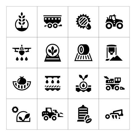 Set iconen van de landbouw op wit wordt geïsoleerd