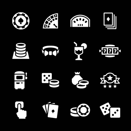 wheel of fortune: Set icons of casino isolated on black