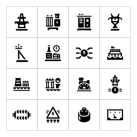 torres de alta tension: Fije los iconos de la industria de energía aislados en blanco