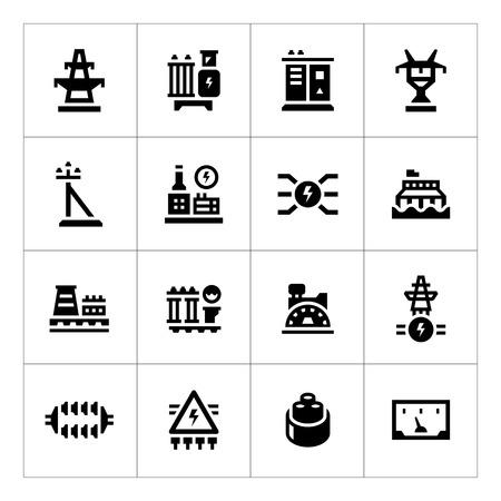 Set iconen van de energie-industrie op wit wordt geïsoleerd