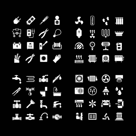 heater: House system icons. Set icons of electricity, heating, plumbing, ventilation isolated on black Illustration