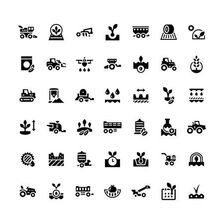 maquinaria: Fije los iconos de la agricultura aislados en blanco