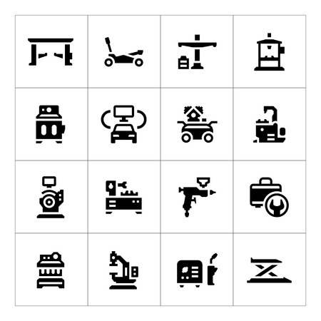 automobile workshop: Set icons of car service equipment isolated on white