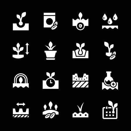 seedling: Set icons of seed and seedling isolated on black Illustration