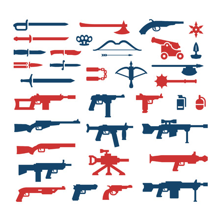 weapon: Set color icons of weapons isolated on white Illustration