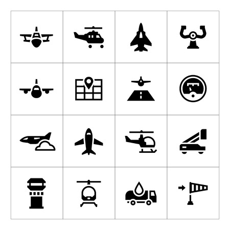 helicopter pilot: Set icons of aviation isolated on white