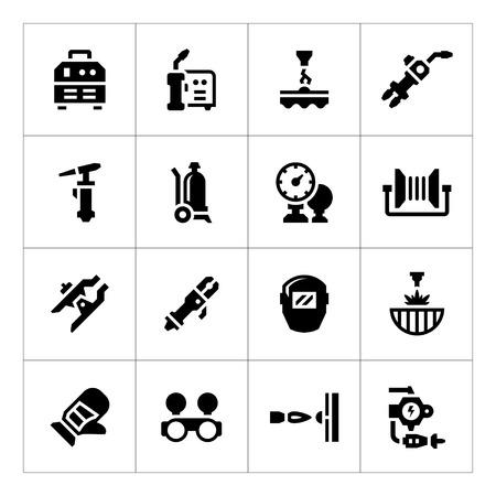 Set iconen van het lassen op wit wordt geïsoleerd