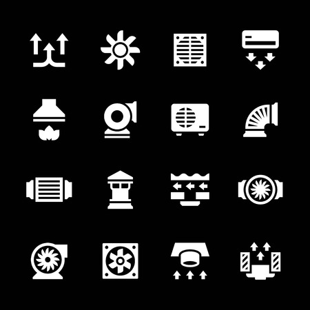 air flow: Set icons of ventilation and conditioning isolated on black Illustration
