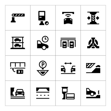 a lot: Set icons of parking isolated on white