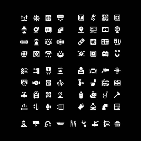 sewerage: House system icons. Set icons of ventilation, electricity, heating, sewerage, plumbing isolated on black