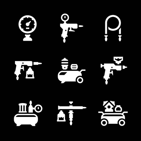compressed air hose: Set icons of compressor and accessories isolated on black