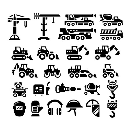 mat�riel chantier: Set icons of construction equipment isolated on white