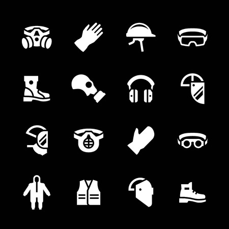 protective: Set icons of personal protective equipment isolated on black