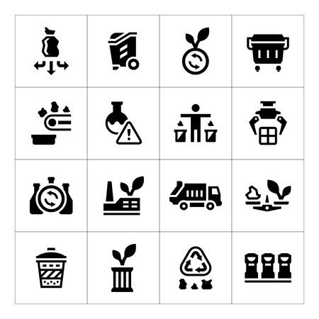 raccolta differenziata: Impostare le icone di riciclaggio isolato su bianco Vettoriali