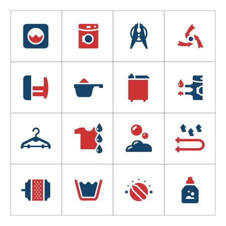 servicio domestico: Set color icons of laundry isolated on white