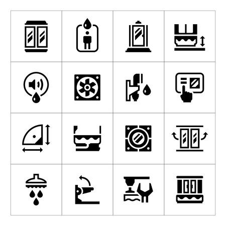 cabine de douche: Set ic�nes de cabine de douche isol� sur blanc