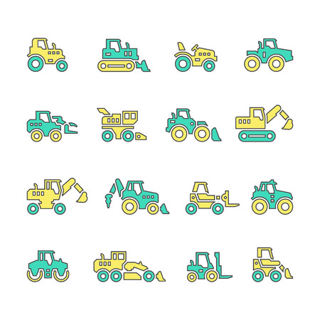agrarian: Set line icons of tractors, farm and buildings machines, construction vehicles isolated on white Illustration
