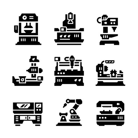 lathe: Set icons of machine tool isolated on white
