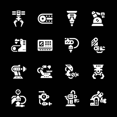 symbol robot: Set icons of robotic industry isolated on black