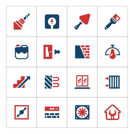 materiales de construccion: Conjunto de iconos de colores de la reparación y construcción de aislados en blanco Vectores