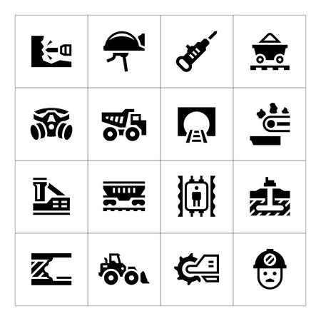 coal mining: Set icons of mining isolated on white