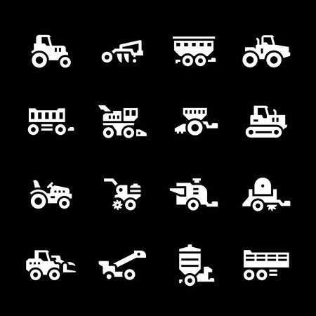 crop sprayer: Set icons of agricultural machinery isolated on black