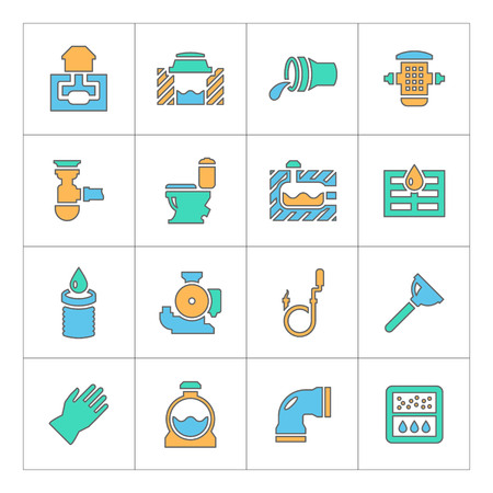 water filter: Set line icons of sewerage isolated on white
