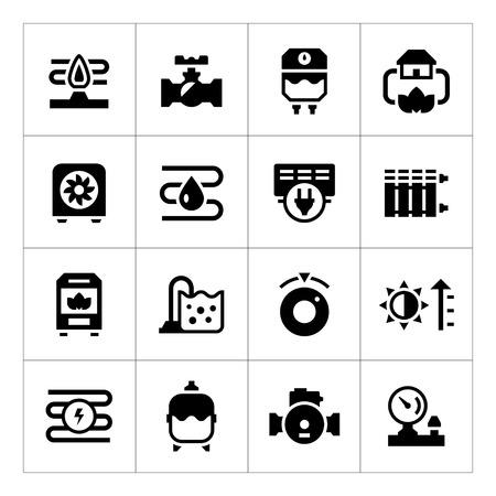 viento: Fije los iconos de calefacci�n aislados en blanco