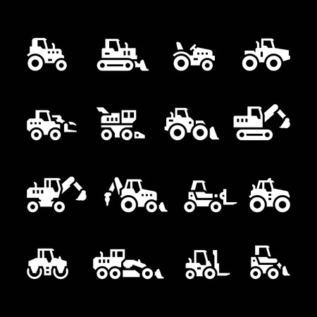 road grader: Set icons of tractors, farm and buildings machines, construction vehicles isolated on black