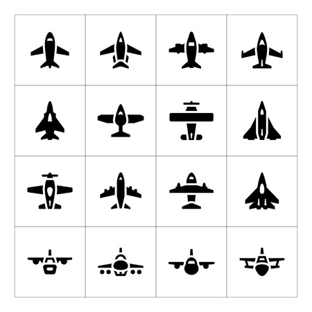 biplane: Set icons of planes isolated on white