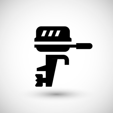 services: Boat motor icon isolated on grey Illustration