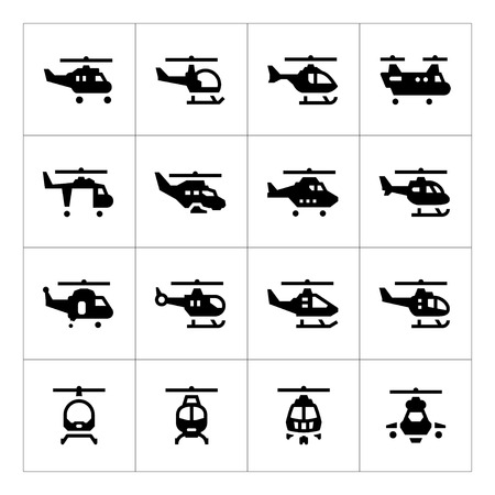 rescue helicopter: Set icons of helicopters isolated on white