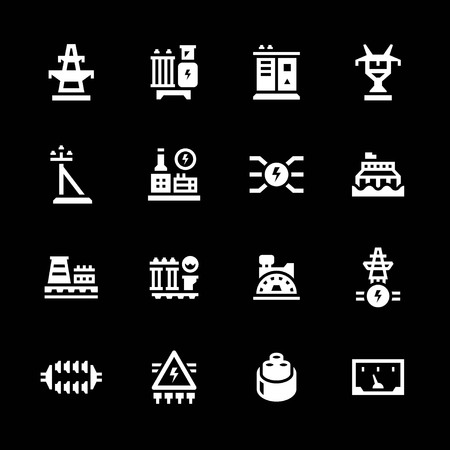 power industry: Set icons of power industry isolated on black