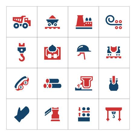 mining truck: Establecer los iconos de color de la metalurgia aislados en blanco