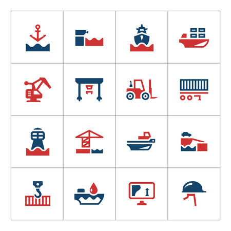 Set color icons of seaport isolated on white Illustration
