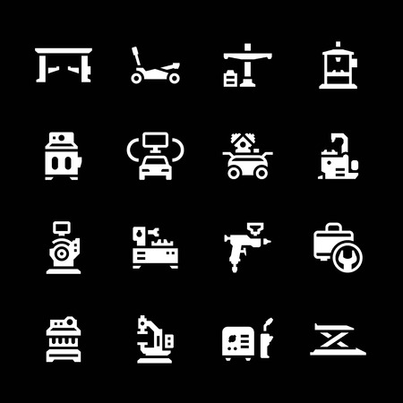 tire repair shop: Set icons of car service equipment isolated on black Illustration