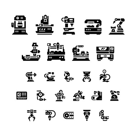 machine: Set icons of machine tool, robotic industry isolated on white