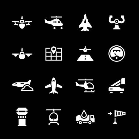 Set icons of aviation isolated on black